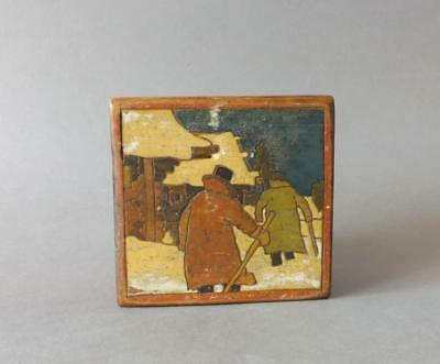 Antique Russian Country side Scene Hand Painted Box