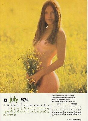 Original  LENNA SJOOBLOM   Playboy Calendar Page  July 1974,  4 1/2 x 6 inches