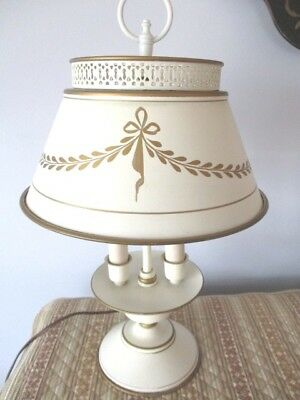 Antique Cream Double Light Metal Table Desk Reading Lamp, Painted Gold Accents