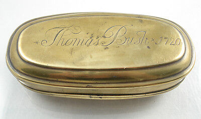 Early 1800s Antique Brass Tobacco/Snuff Box. Dated 1720