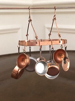 Lara Copper Cookware & Hanging Rack 1:12th Scale