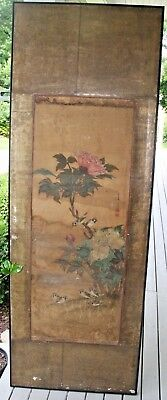 Antique Chinese Japanese Silk Painting Scroll Birds Flowers On Panel Seals Marks