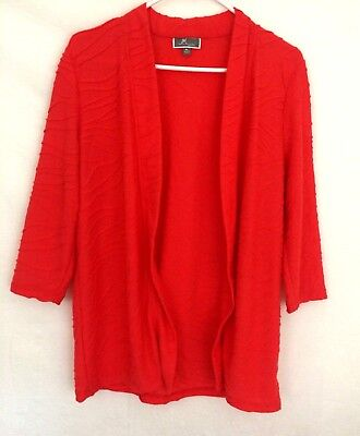 JM Collections Women's Open Front Cardigan Petite Large Light Weight Textured