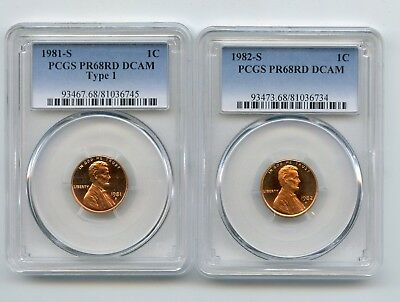 1981S/1982-S Proof Lincoln Memorial Cents (PR68RD DCAM) PCGS (Two Coins)
