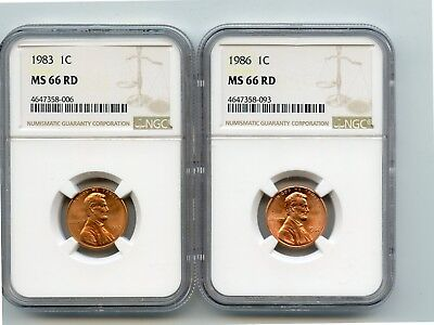 1983/1986 Lincoln Memorial Cents (MS66 RD) NGC (Two Coins)