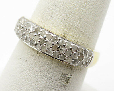 Gold Over 925 Silver .50ctw Genuine Diamonds Band Ring 2.7g - Sz 7 (71718)