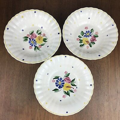 "3 VTG Polka Dot Floral Large Serving Bowls 9.5"" Blue Ridge Southern Potteries"