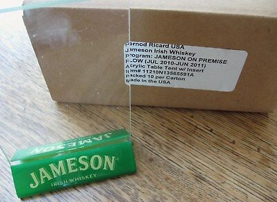 Jameson Irish Wiskey Acrylic Table Tent w/Inserts-Box Of 10-Party,Bar/restaurant