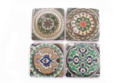 Ceramic Tile Coasters Moroccan Vintage Style Set of 4 French Shabby Chic