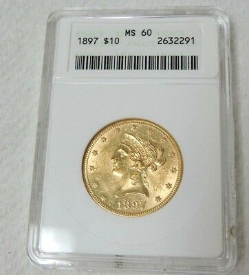 1897 $10 Liberty Head Gold Eagle Coin - ANACS MS 60