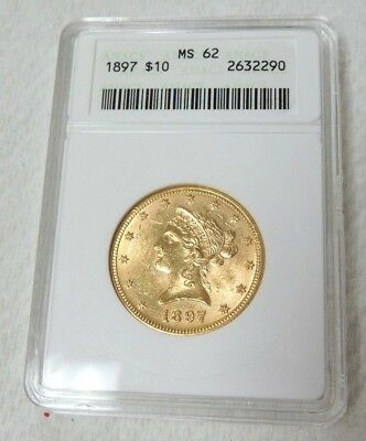 1897 $10 Liberty Head Gold Eagle Coin - ANACS MS 62