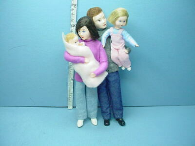 Miniature Family of Four #10974 Dollhouse. Dolls, Handcrafted Erna Meyer
