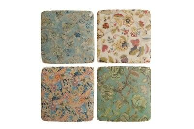 Ceramic Tile Coasters Edwardian Vintage Style Set of 4 French Shabby Chic