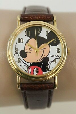 LOURS Brown Faux Leather Stainless Steel MICKEY MOUSE Wrist Watch - V501-6S70