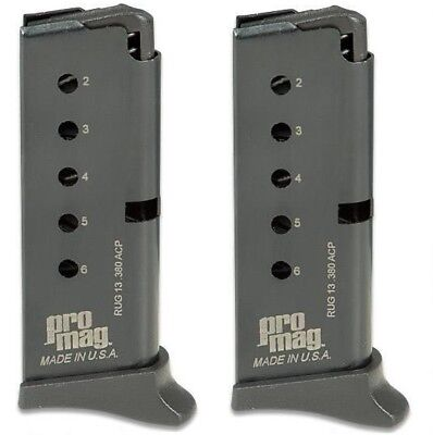 ProMag 6-Round Blue Steel Clip Magazine RUG13 for Ruger LCP .380 ACP 2 Pack