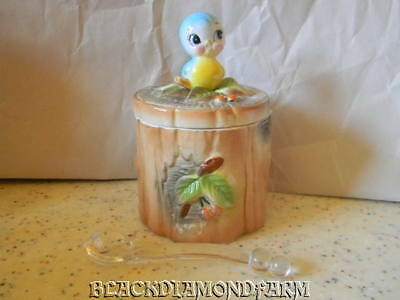 Vintage Norcrest Blue Bird Jam Jar * With Spoon *