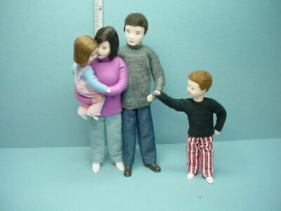 Miniature Family of Four #10976 Dollhouse. Dolls, Handcrafted Erna Meyer