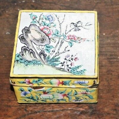 Vintage Handpainted China Chinese Canton Polychrome Enamel Floral Box Lid Yellow