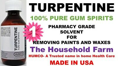 4 oz 100% Pure Gum Spirits of Turpentine by Humco Exp. Date 05/2023