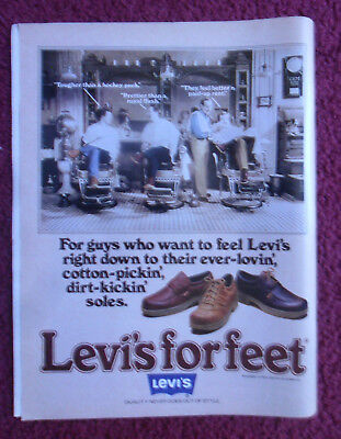 1979 Print Ad Levi's For Feet Fashion Shoes ~ Barber Shop Barbershop Chatter