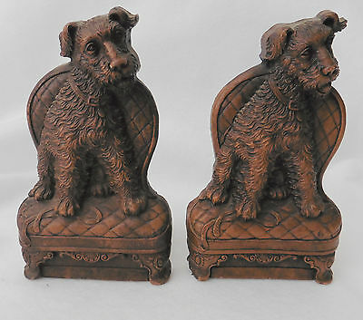Ornawood Bookends Airedale Terrier VINTAGE Pair
