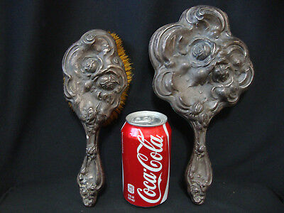 ANTIQUE STERLING SILVER DRESSER SET Mirror & Brush - AS IS