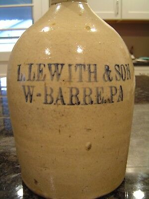 Antique Advertising 1  Gallon Stoneware JUG - L. Lewith & Sons W-Barre, PA
