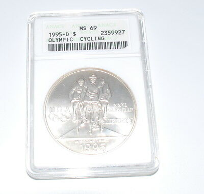 1995-D Olympic Cycling Silver Dollar Commemorative Anacs MS-69