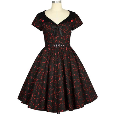 Chic Star Dark Rose Dress Retro Prom 50s Vintage Pin Up Rockabilly Floral Print