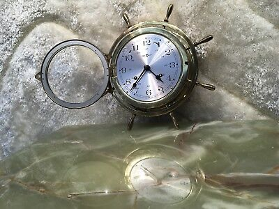 Vtg Germany Brass Howard Miller 4 Jewelry  Ship's Bill Strikes Clock Working