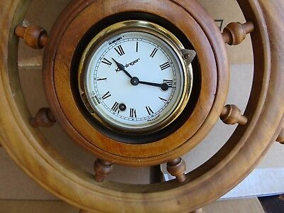 Vintage Ship Clock, KIENINGER, Mechanical Mvmt; Made in Germany, Wooden, USA