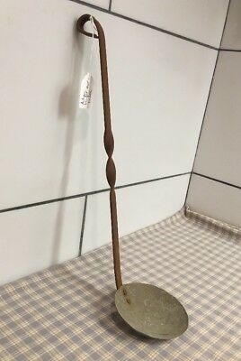 """Antique wrought iron and bronze dipper ladle 15"""" Long . Genuine antique item Old"""