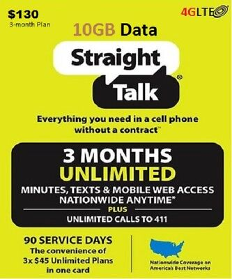 Straight Talk $130 Unlimited 90Day 10gb 4GLte Card