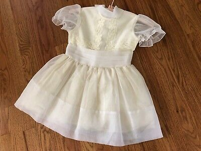 Vintage 1950's Girls Sheer Off White Party Dress Size 5 6