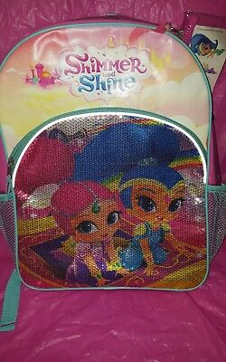 Shimmer and Shine  SEQUIN Backpack 💖  Full Size 16 inch  NEW