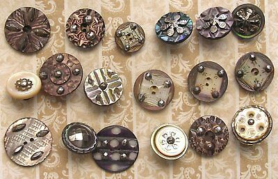 18 Antique Carved Pearl & Cut Steel Buttons