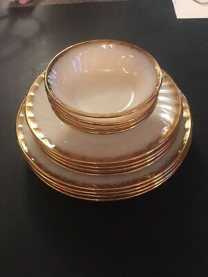 12 Pieces Of Fire King Oven Ware White Shell Gold Rim
