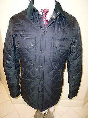 NEW! Barbour Akenside BLACK Quilted Coat S Corduroy Collar Multiple Pockets NWT
