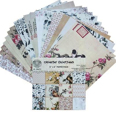24PCS DIY Scrapbooking Pads Paper Hand Account Card Diary Background Paper Decor