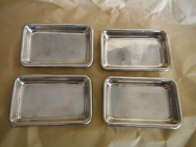 Set of 4 Poole Sterling Silver Rectangle Butter Pat Small Trays #81