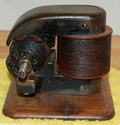 Antique Elbridge Bipolar Dc Electric Motor Mounted On Wood Base