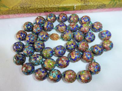 """VINTAGE CHINESE CLOISONNE ENAMEL HAND KNOTTED LARGE BEAD NECKLACE w Box 29 1/2"""""""