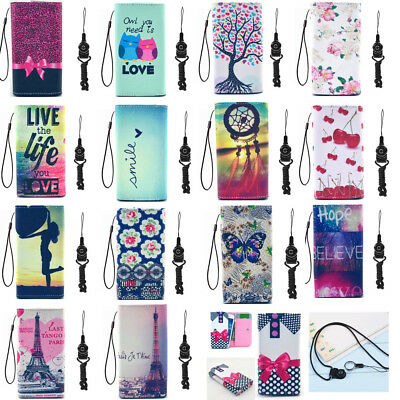 PU Leather slot wallet pouch cellphone case skin cover with straps For ZTE