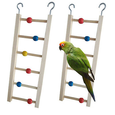Wooden Ladder Stairs Hanging Bridge Toy for Hamster Mouse Parrot Bird Bead C6A4