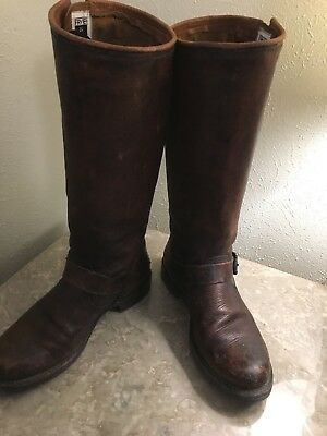 Women's Frye Veronica Slouch Engineer Boots Size 8 Distressed Brown