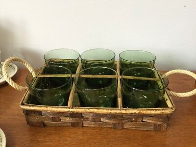 Retro Olive Green Drinking Glasses In Cane Carrier ~ Vintage 1960's Tumblers