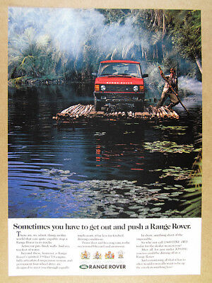 1992 Range Rover Classic jungle bamboo raft photo vintage print Ad