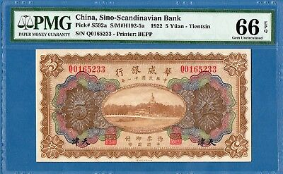 China, Sino-Scandinavian Bank, 5 Yuan, 1922, Gem UNC-PMG66EPQ, P-S592a