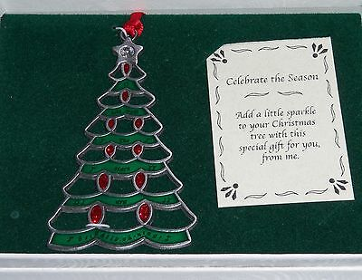 TREE Christmas Ornament O Holy Night Pewter NEW Crystal Star Topper Glitter Red