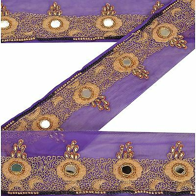 Vintage Sari Border Antique Hand Beaded 1 YD Indian Trim Sewing Purple Lace